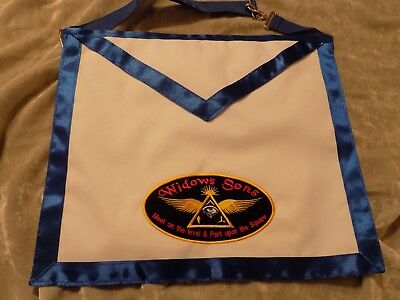 Widows Sons Masonic Cloth Apron Freemason Blue Lodge Motorcycle Fraternity NEW!
