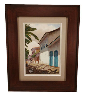 Charming Framed Oil Painting Spanish Or Mexican Style Villa With Red Tile Roof