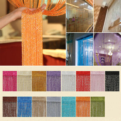 String Door Curtain Beads Room Divider Window Panel Tassel Crystal Fringe Adorn