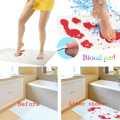 Bloody Bath Mat Color Changing Sheet Turns Red Wet Make You Bleeding Footprints