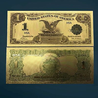 24K Gold Foil Plated 1899 $1.00 Banknote Currency Novelty Money