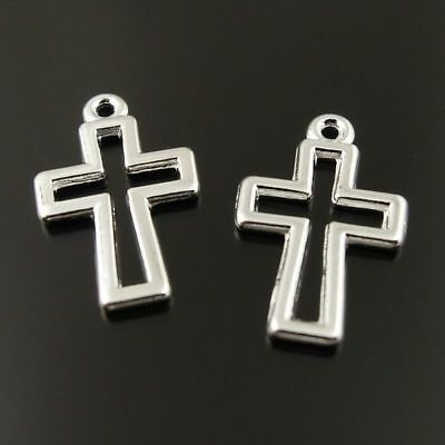 30 PCS Vintage Silver Alloy Hollowed Cross Crucifix Pendant Charm Jewelry Crafts