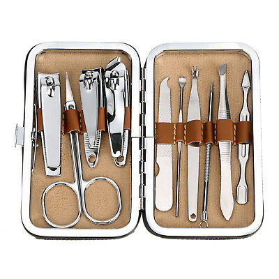 Manicure / Pedicure 10 PCS Tools Set Kit Nail Clipper Clean Ear Cuticle Grooming