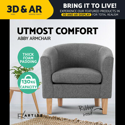 Artiss ABBY Armchair Tub Accent Dining Chair Wooden Sofa Lounge Fabric Grey