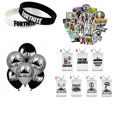 Fortnite Balloons Stickers Wristbands Dog Tags Keyrings Lanyard Party Bag UK