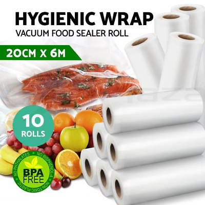 10x Vacuum Food Sealer Bags Roll Saver Storage Seal Heat Commercial 6m 20cm Wide