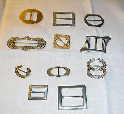 11 A Antique & Vintage Belt Buckles In Metal Gold & Silver Colour Collection