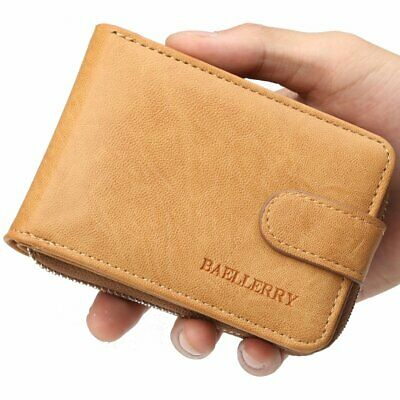 Men's Wallet Genuine Leather Credit Card RFID Holder Blocking Zipper Thin Pocket