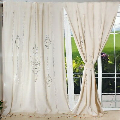 Cotton Linen Crochet Lace Panel Drape Living Room Hotel Curtain French Country