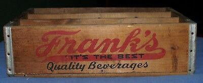 """ FRANK'S QUALITY BEVERAGES WOODEN SODA CRATE ""  ANTIQUE 12 pck  BOX,  PHILA. Pa"