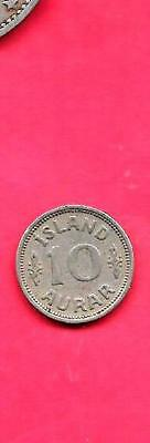 Iceland Km1.1 1936 Vf-Very Fine-Nice Old Vintage Antique 10 Aurar Coin