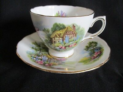 Vintage pretty Royal Vale English china Tea cup & saucer Thatch Cottage pattern