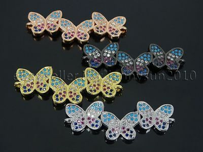Multicolor Zircon Gemstones Pave 3 Butterfly Bracelet Connector Charm Beads Gold