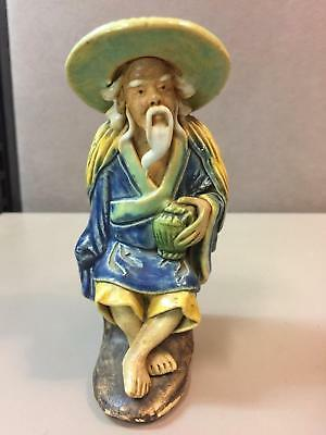 "Detailed Chinese Mudmen Mud Man Mudman Figure 1920-1951 - 4.25"" Tall Holding Urn"