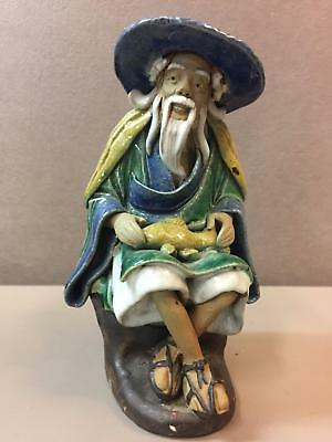 Detailed Chinese Mudmen Mud Man Mudman Figure 1890-1919 Man w/ Fish on Lap 5.25""