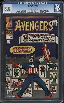 Avengers #16 Cgc 8.0 )Ff White/white Pages. Classic Cover & Hawkeye Joins
