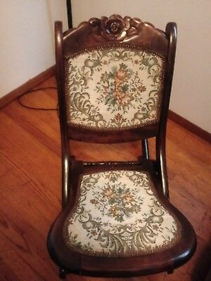 Lovely Victorian Folding Carpet Rocker Rocking Chair - Local Pickup Only