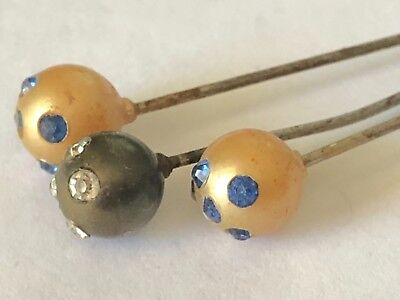Antique Stickpin Lot of 3 Faceted Paste Stone Encrusted Round Ball Hatpins