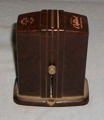 Vtg Bakelite Carvanite Used Needle Receptacle Capitol Records Patent Applied Old
