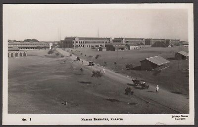 Postcard Karachi Pakistan military camp Napier Barracks early RP Johnny Stores