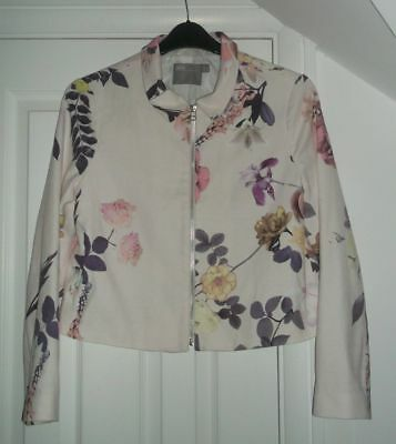ASOS White Floral Print Fabric Biker Style Jacket Size 14