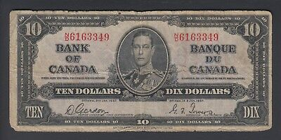 1937 $10 Dollars - Gordon Towers - Prefix N/D - Bank of Canada - E400
