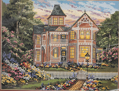 "Needlepoint Kit,VICTORIAN HOUSE W/GARDENS,MPN 06005,Sealed, Size18x14"",Janlynn"