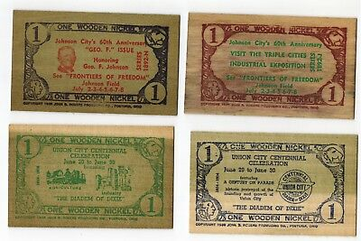 "4 wooden ""nickel"" flats from the 1950s"