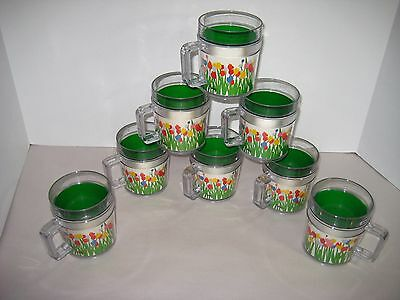 Vintage Set 8 St Tropez Insulated Acrylic Mugs with Handles Tulips by Audrey