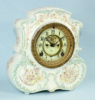 Nice Antique Ansonia Open Escapement 8-Day Porcelain Clock - Bg12