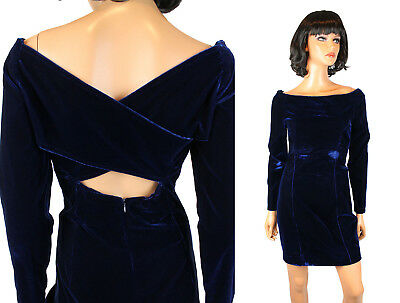 Petrovitch Robinson Cocktail Gown 42 S M  Cobalt Blue Stretch Velvet Mini Dress