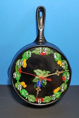 Vintage Cast Iron Skillet Clock with Painted Fruit Pattern