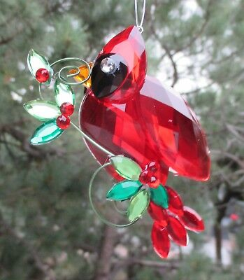 R Cardinal bird visitor from heaven Ornament Crystal Expressions Sun catcher