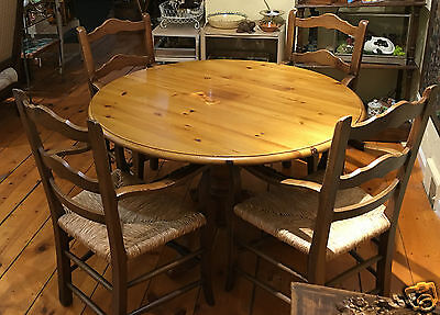 Vintage French Pine Pedstal Table and Four French Rush Seat Chairs