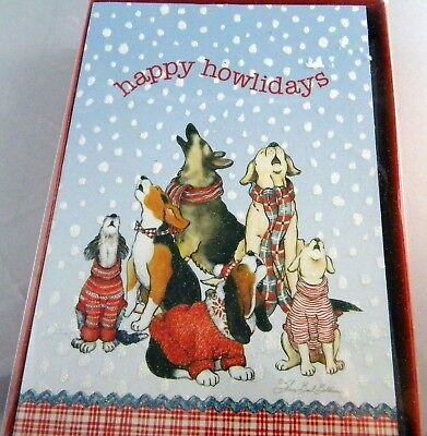 Box of  Dogs HAPPY HOWLIDAYS  Christmas Cards Glitter 18  cards