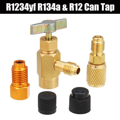 """5Pcs R1234yf R134a R12 Refrigerant Can Tap Adapter Fittings 1/4SAE 1/2"""" ACME LH"""