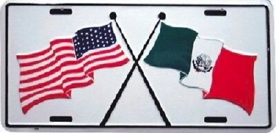 USA and Mexico Flags Aluminum Auto License Plate