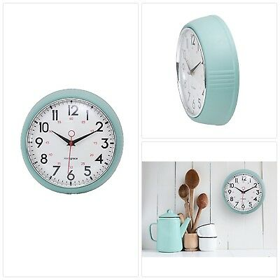Kiera Grace Retro Wall Clock with Chrome Bezel and Convex Glass Lens, 9.5-Inch,