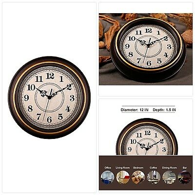 AMESSE Vintage Wall Clock Silent Non Ticking Battery Operated 12 Inch Round Imit