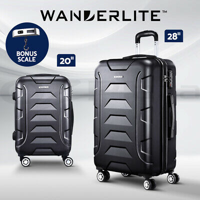Wanderlite 3pc Luggage Sets Suitcases Orange Trolley TSA Hard Case Lightweight