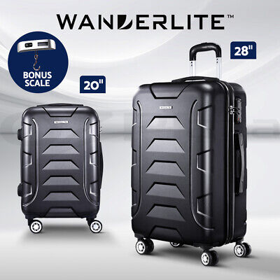 Wanderlite Luggage Sets Suitcase 2pc Carry On TSA Travel Hard Case Lightweight