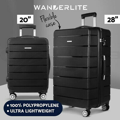 Wanderlite 2PC PP Luggage Suitcase Trolley TSA Travel Lightweight Hard Case BK