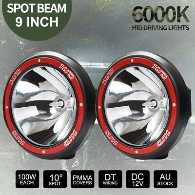 """2x 100W 9"""" inch HID Spot Driving Lights Xenon Work Off Road 4WD 4x4 Red 12V Kit"""
