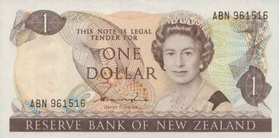 New Zealand vUnc 1981 $1 Hardie II First QE2 Redesign Paper Banknote issue p169a