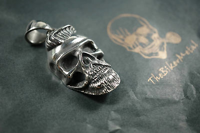 Silver Old Dutch Beard Skull Pendant FREE NECKLACE for Harley Davidson Biker 90