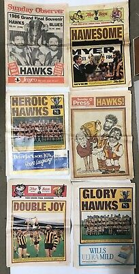 Hawthorn Football Club Lot Of 6 Newspaper Grand Final Souvenirs & Guides