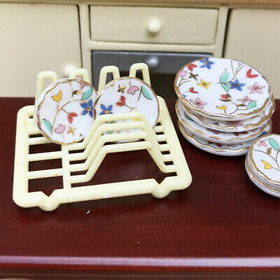 2pcs Miniature Dish Rack Tableware for 1/12 Dolls House Kitchen Accessories