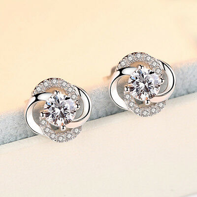 925 Silver Round Cut White Sapphire Lucky Leaf Clover Ear Studs Earrings Jewelry