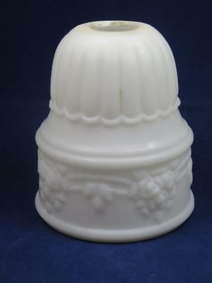 ANTIQUE VICTORIAN MILK GLASS LAMPSHADE Floral Garland Relief Pattern