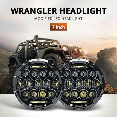 1 Pair 7 inch 200W CREE Round LED Headlights Kit For Jeep Wrangler TJ JK 97-17